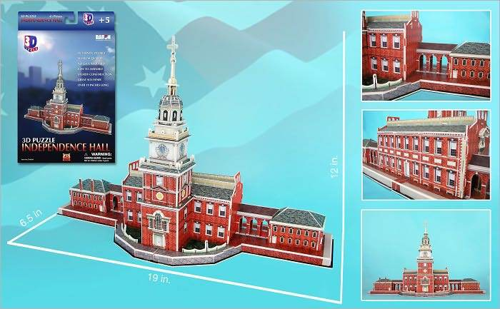 Independence Hall - 43pc 3D Jigsaw Puzzle by Daron