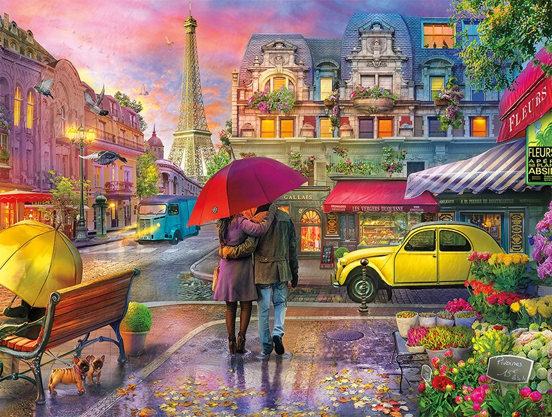 Cities In Color: Raining in Paris - 750pc Jigsaw Puzzle by Buffalo Games  			  					NEW
