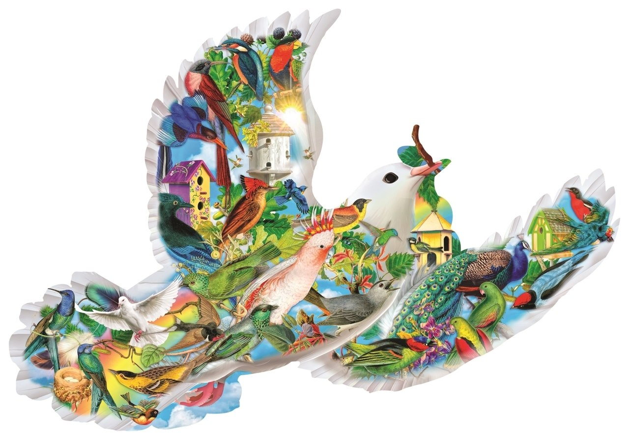 Feathered Friends - 1000pc Shape Jigsaw Puzzle by SunsOut  			  					NEW