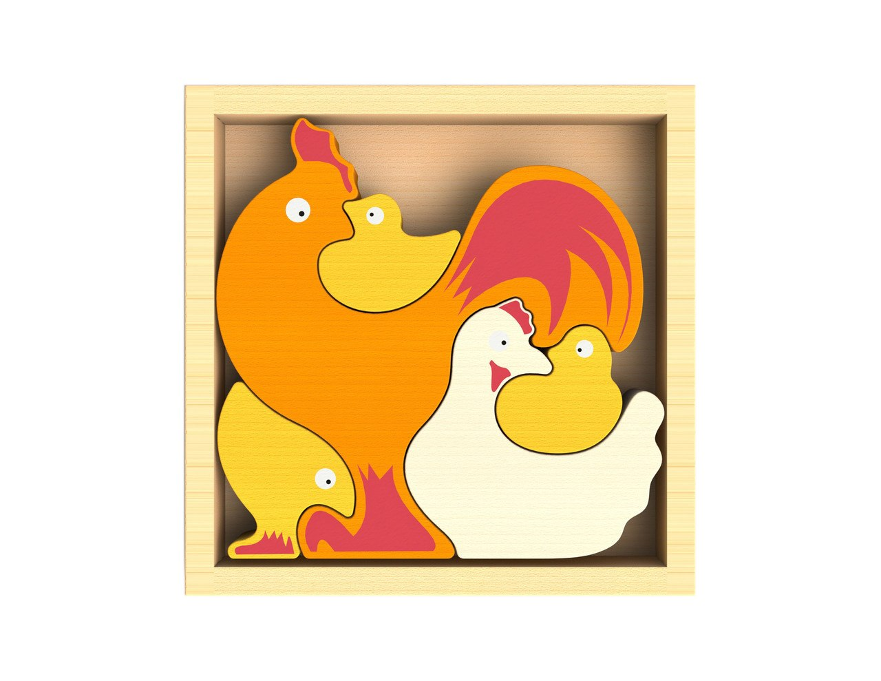 Chicken Family - EcoFriendly Wooden Puzzle by BeginAgain   			  					NEW