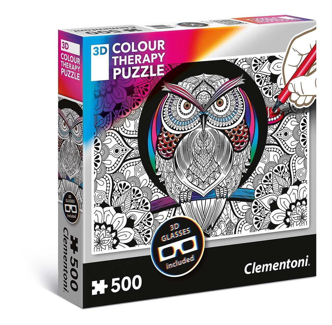 3D Color Therapy: Owl - 500 pc Jigsaw Puzzle by Clementoni  			  					NEW
