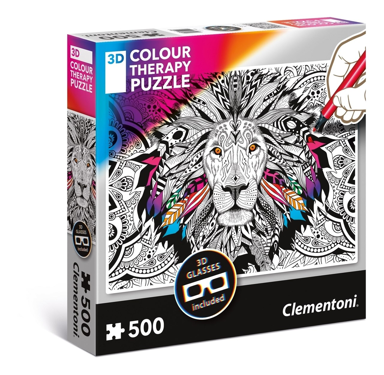 3D Color Therapy: Lion - 500 pc Jigsaw Puzzle by Clementoni  			  					NEW