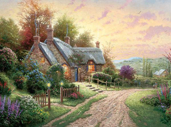 Thomas Kinkade: A Peaceful Time - 1000pc Jigsaw Puzzle by Ceaco  			  					NEW