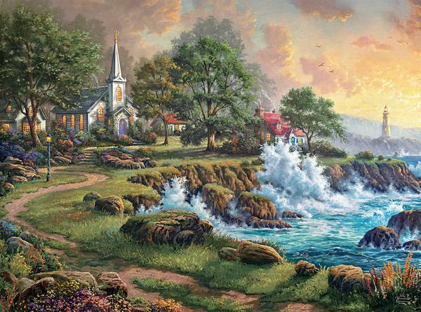 Thomas Kinkade: Seaside Haven - 1000pc Jigsaw Puzzle by Ceaco  			  					NEW