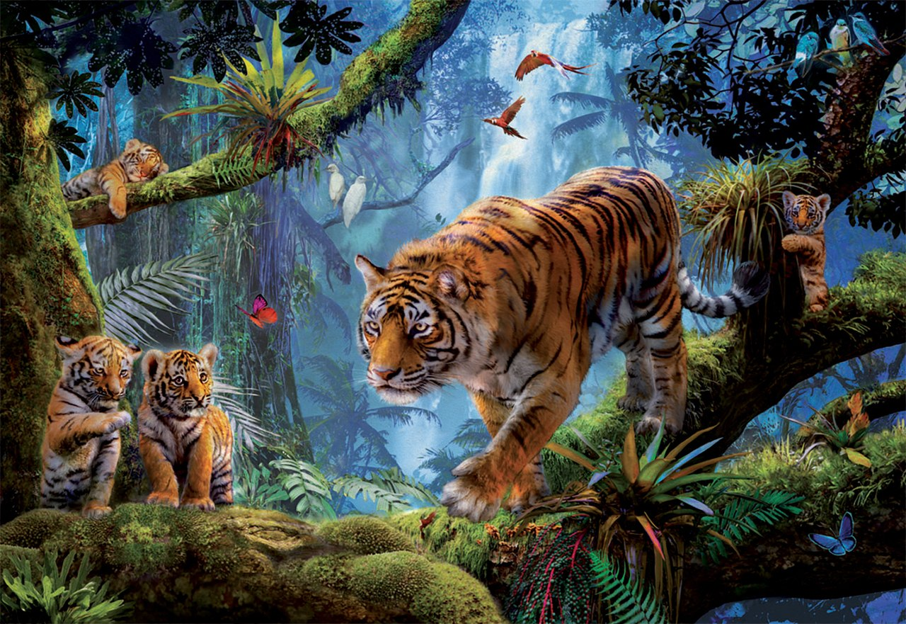 Tigers in the Tree - 1000pc Jigsaw Puzzle by Educa  			  					NEW