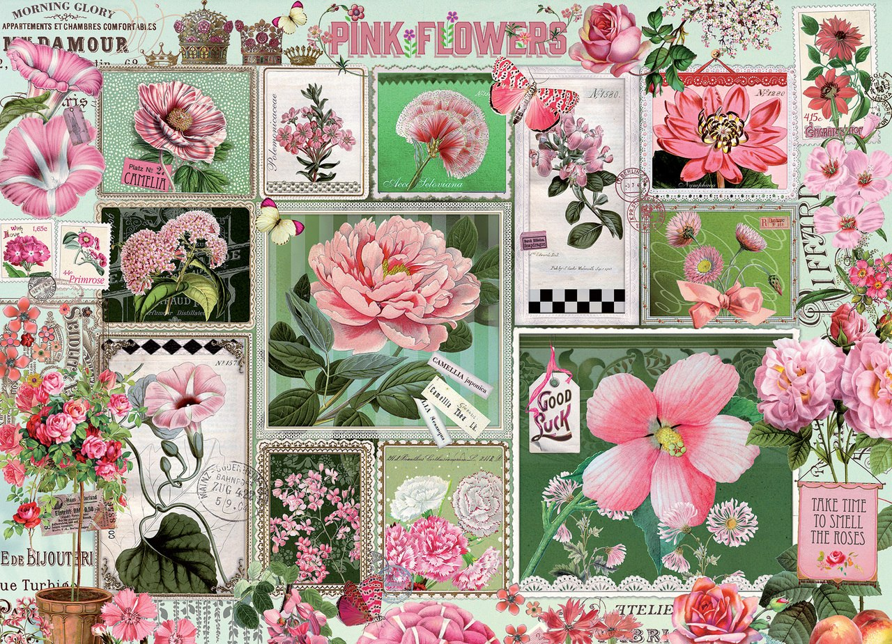 Pink Flowers - 1000pc Jigsaw Puzzle by Cobble Hill  			  					NEW