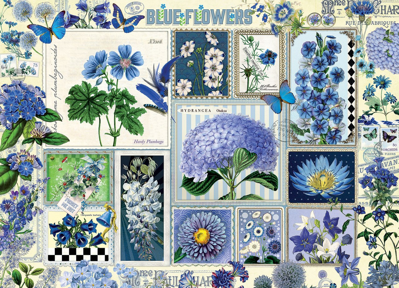 Blue Flowers - 1000pc Jigsaw Puzzle by Cobble Hill  			  					NEW