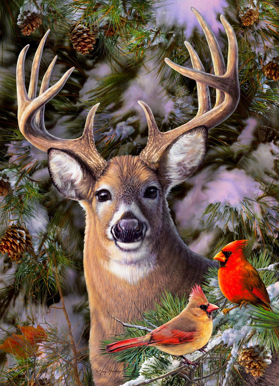 One Deer Two Cardinals - 500pc Jigsaw Puzzle By Cobble Hill  			  					NEW