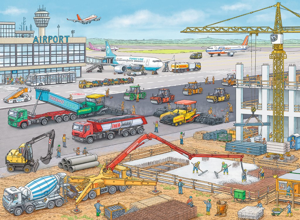 Construction at the Airport - 100pc Jigsaw Puzzle By Ravensburger  			  					NEW