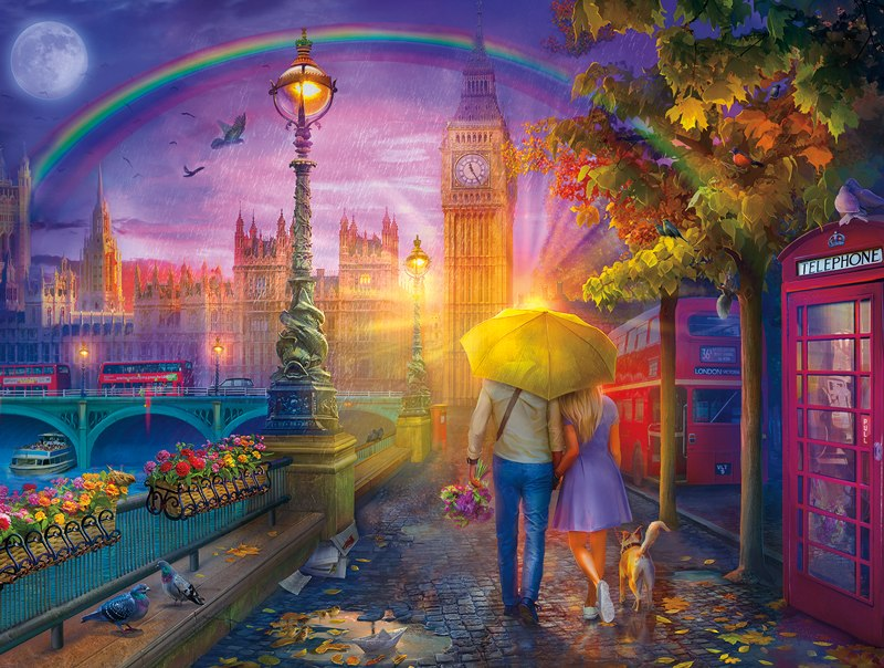 Cities In Color: London Rain - 750pc Jigsaw Puzzle by Buffalo Games  			  					NEW