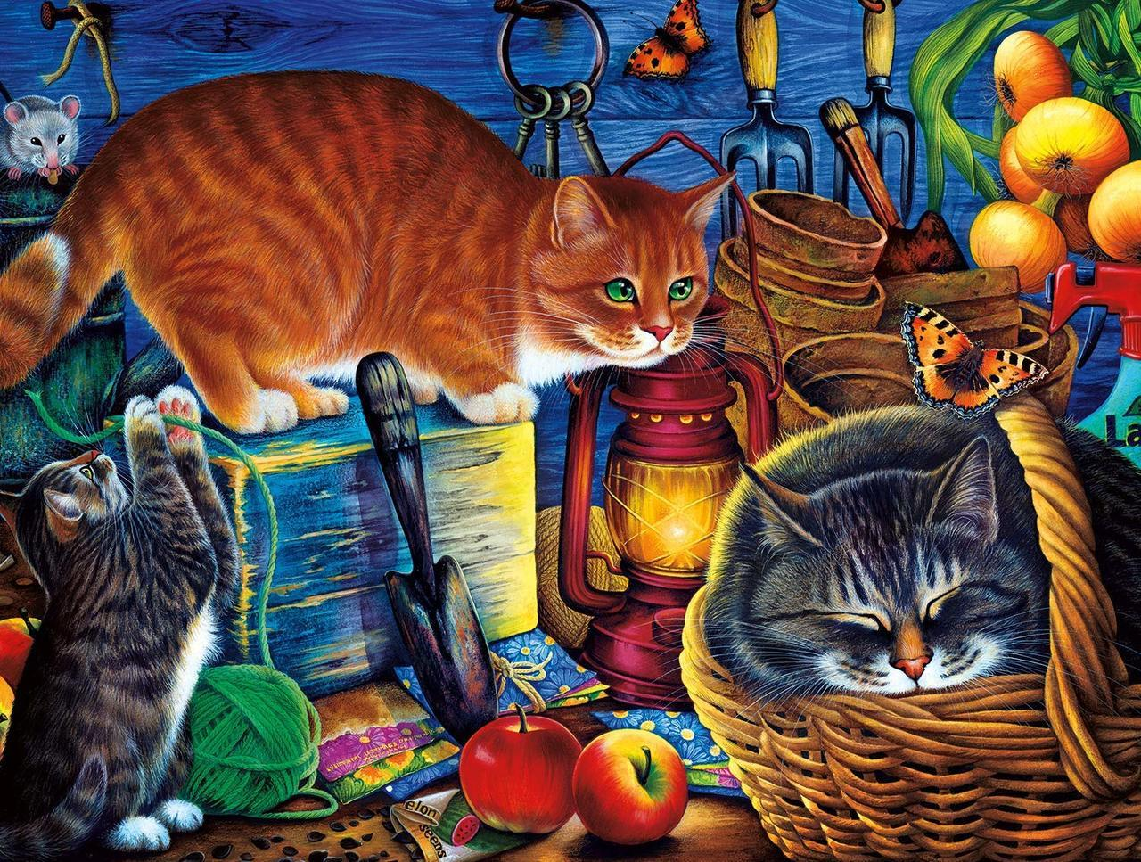Potting Shed Cats - 750pc Jigsaw Puzzle by Buffalo Games  			  					NEW