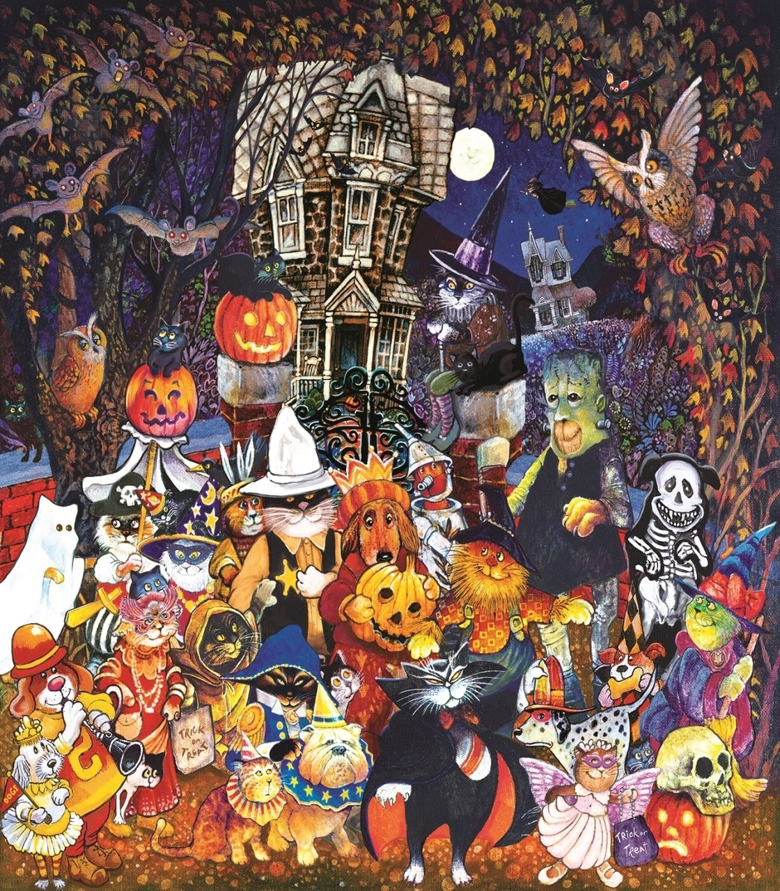 Cats and Dogs on Halloween - 300pc Jigsaw Puzzle By Sunsout  			  					NEW