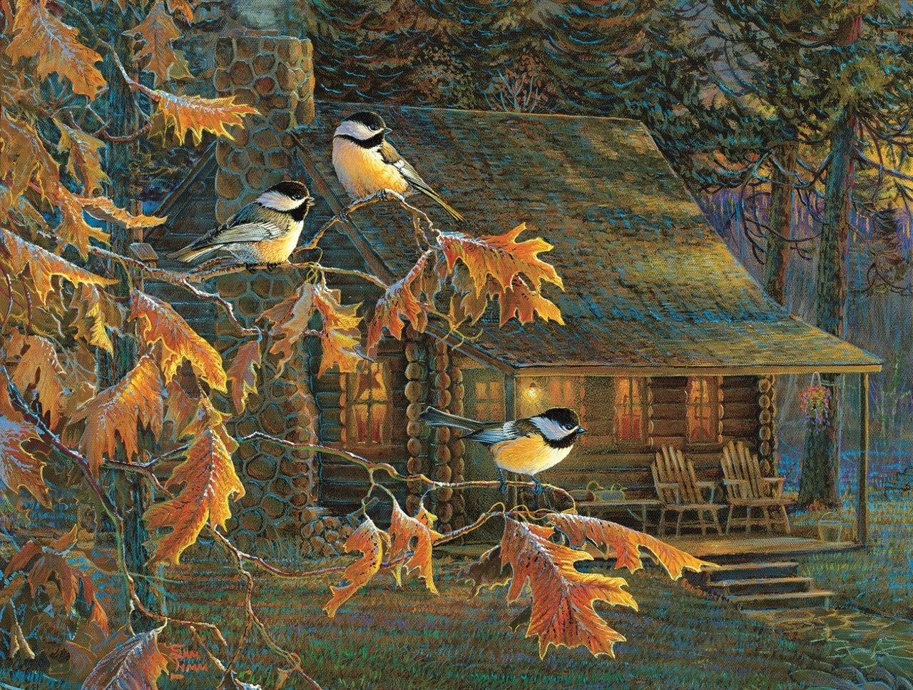 Cabin Chickadees - 500pc Jigsaw Puzzle By Sunsout  			  					NEW