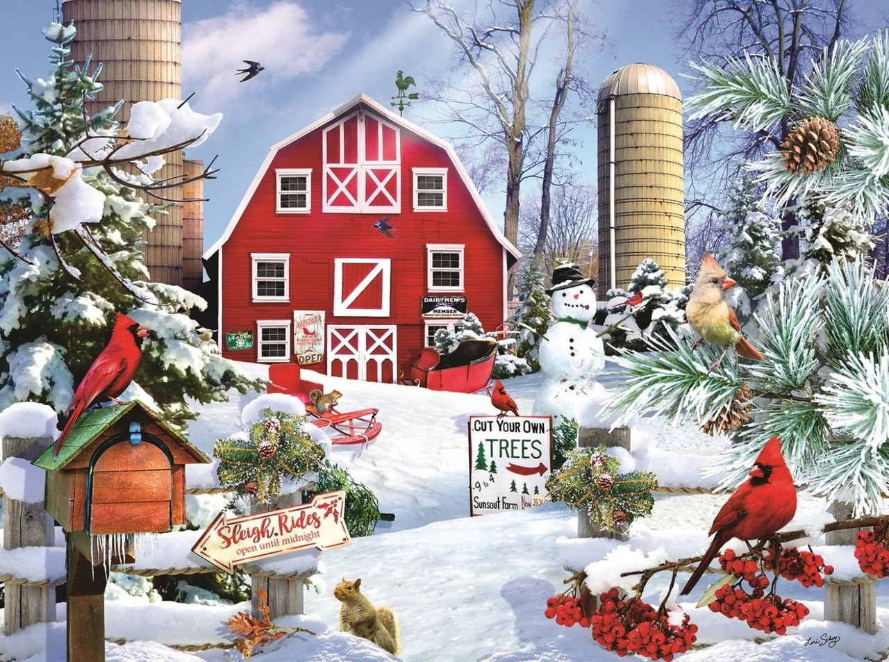 A Snowy Day on the Farm - 1000pc Jigsaw Puzzle By Sunsout  			  					NEW