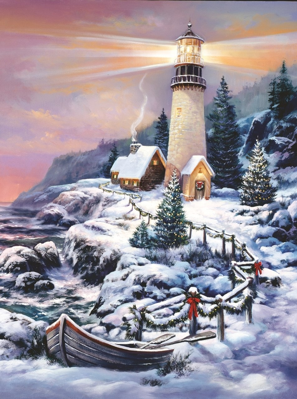 Christmas Lighthouse - 1000pc Jigsaw Puzzle By Sunsout  			  					NEW