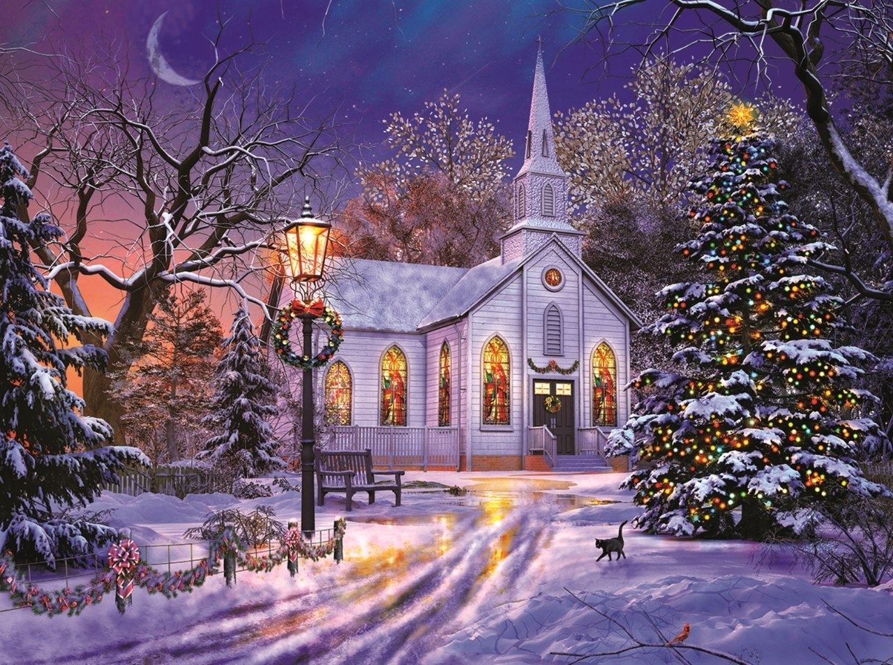 The Old Christmas Church - 1000pc Jigsaw Puzzle By Sunsout  			  					NEW