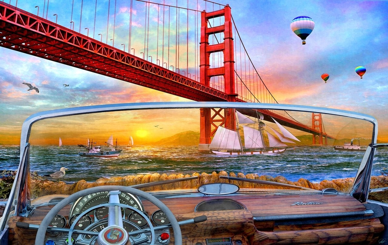 Golden Gate Adventure - 550pc Jigsaw Puzzle By Sunsout  			  					NEW