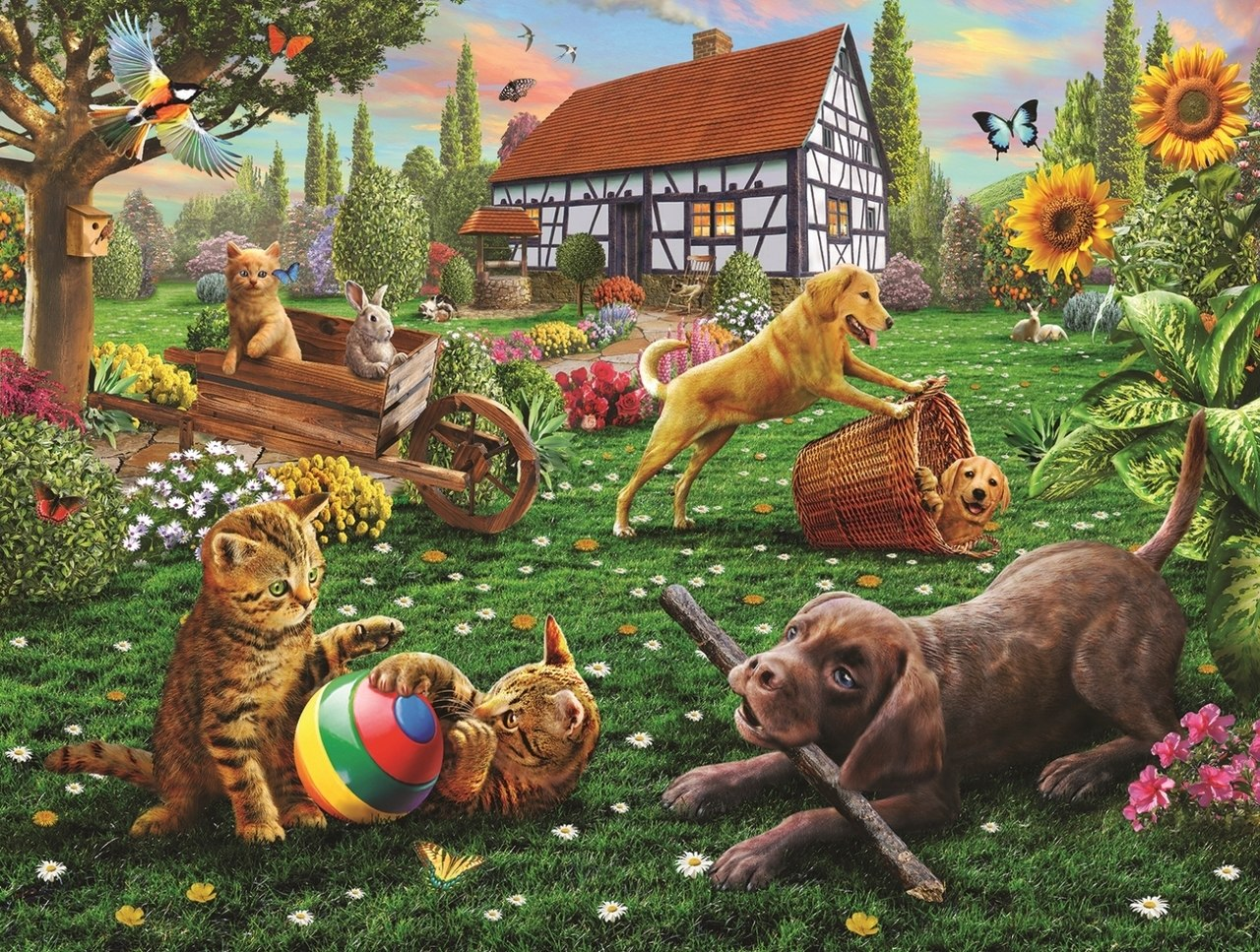 Dogs and Cats at Play - 500pc Jigsaw Puzzle By Sunsout  			  					NEW