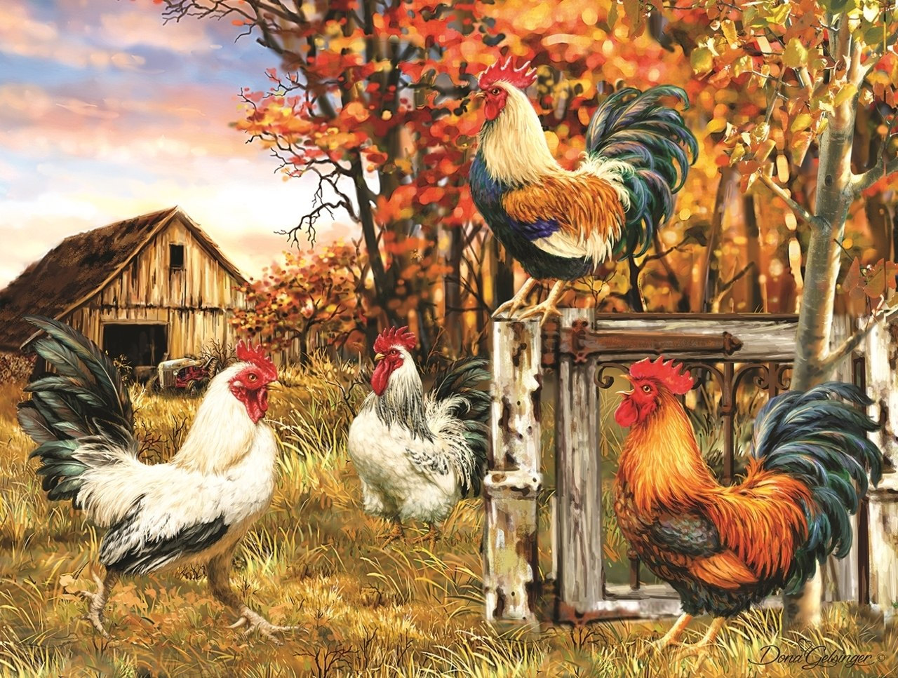 Rooster Farm - 300pc Jigsaw Puzzle By Sunsout  			  					NEW