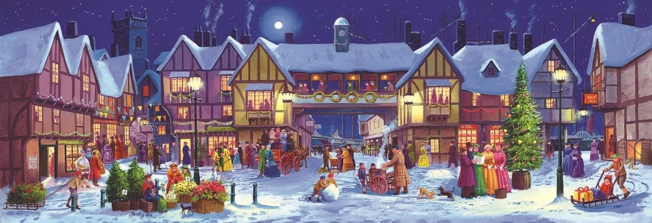 Panoramic Christmas - 500pc Jigsaw Puzzle By Sunsout  			  					NEW