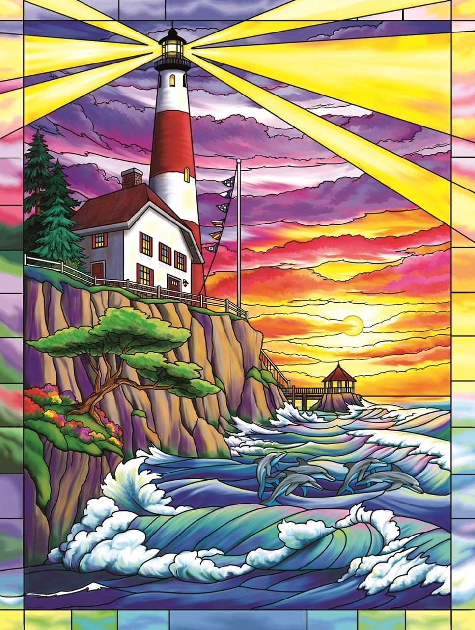 Dolphin Bay Lighthouse - 300pc Jigsaw Puzzle By Sunsout  			  					NEW