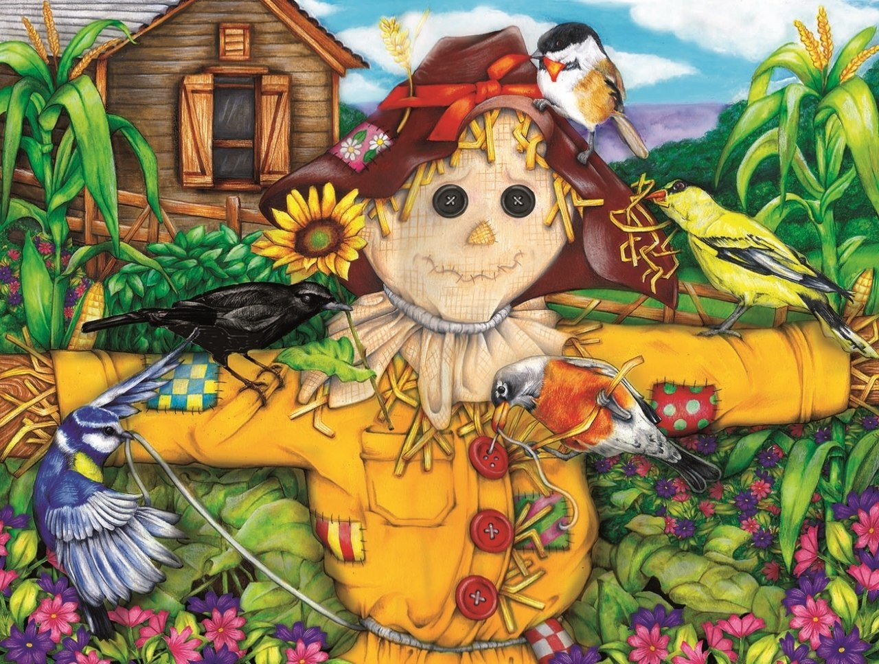 Scarecrow and Blackbird - 500pc Jigsaw Puzzle By Sunsout  			  					NEW