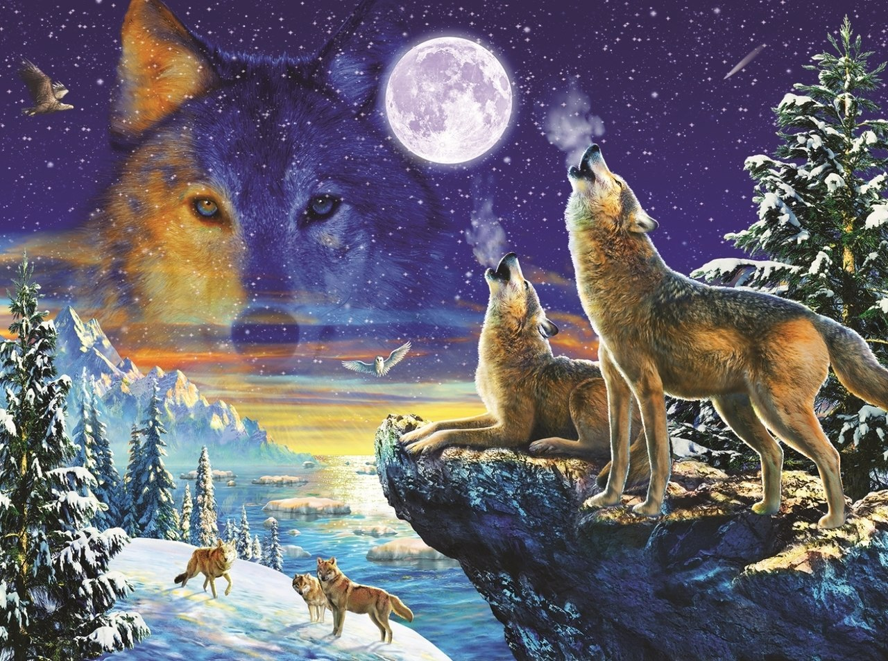 Howling Wolves - 1000pc Jigsaw Puzzle By Sunsout  			  					NEW