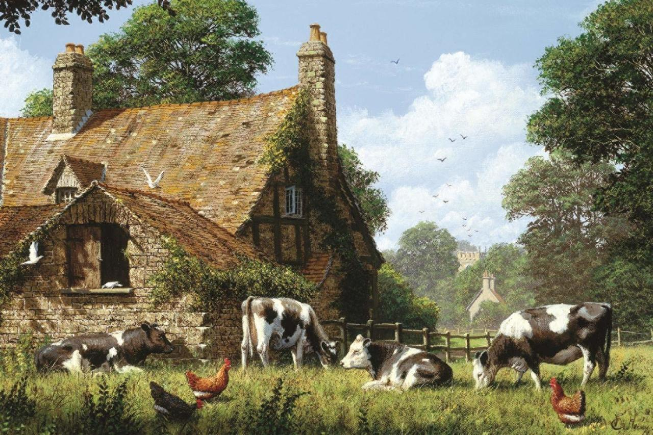Cows at a Farm - 1500pc Jigsaw Puzzle By Jumbo  			  					NEW