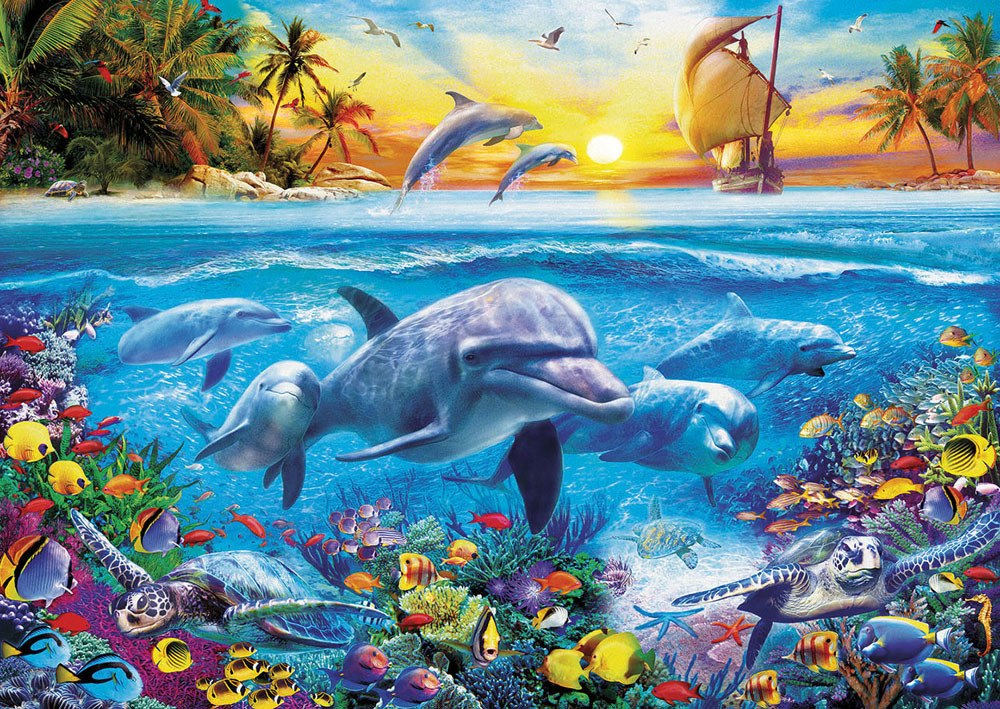 Family of Dolphins - 2000pc Jigsaw Puzzle by Educa  			  					NEW