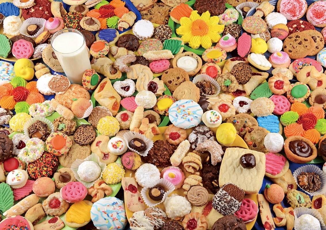 Milk and Lots o'Cookies:Yummy  - 1000pc Jigsaw Puzzle by Lafayette Puzzle Factory  			  					NEW