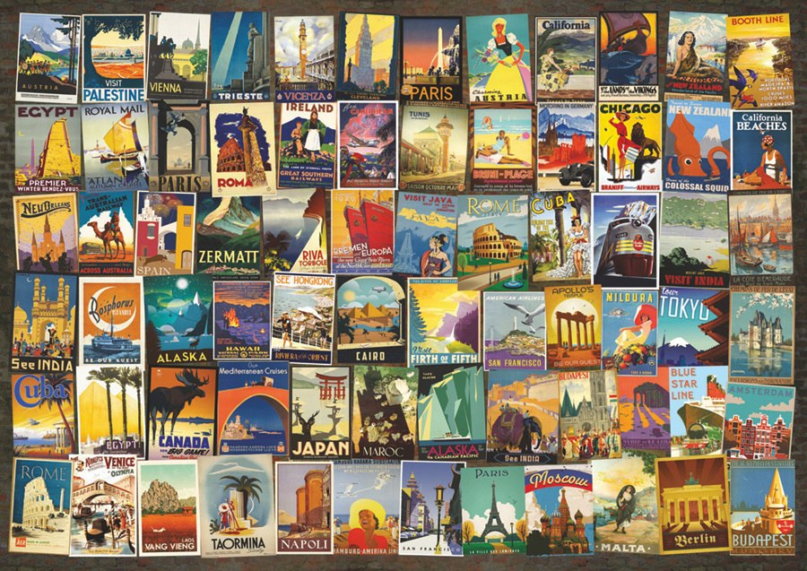 Travel Poster Collage - 1000pc Jigsaw Puzzle By D-Toys  			  					NEW