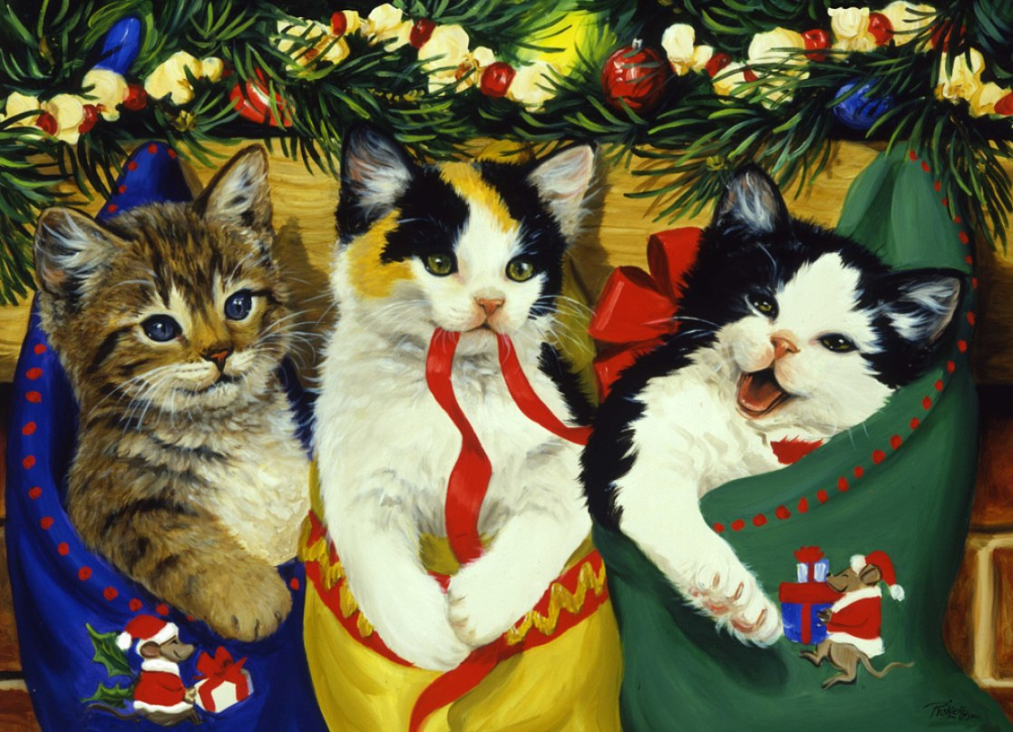 Stocking Kittens - 1000pc Jigsaw Puzzle by Vermont Christmas Company  			  					NEW