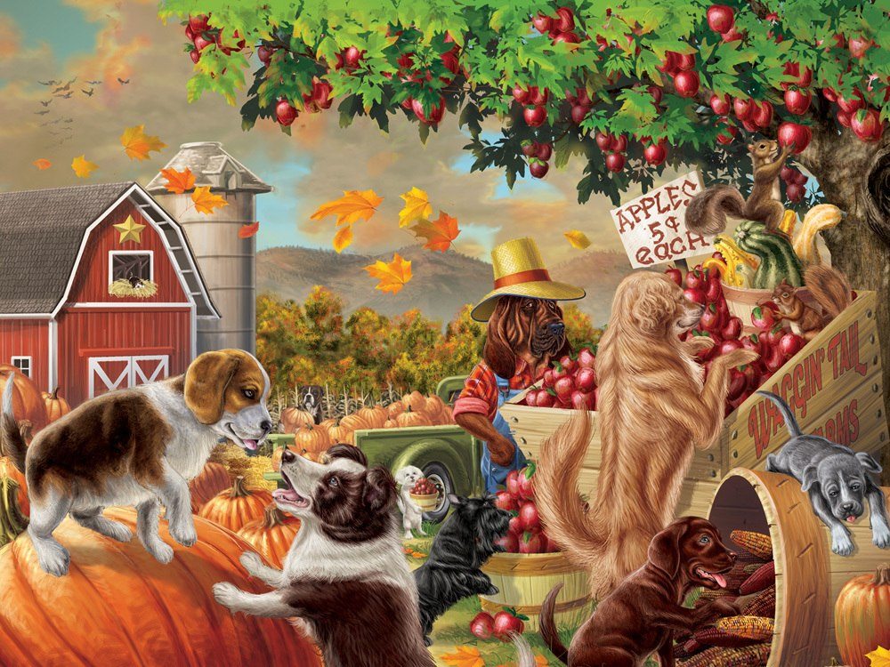Harvest Market Hounds - 550pc Jigsaw Puzzle by Vermont Christmas Company  			  					NEW