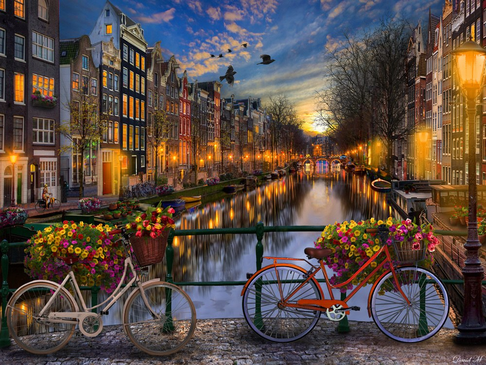Amsterdam Aglow - 550pc Jigsaw Puzzle by Vermont Christmas Company  			  					NEW