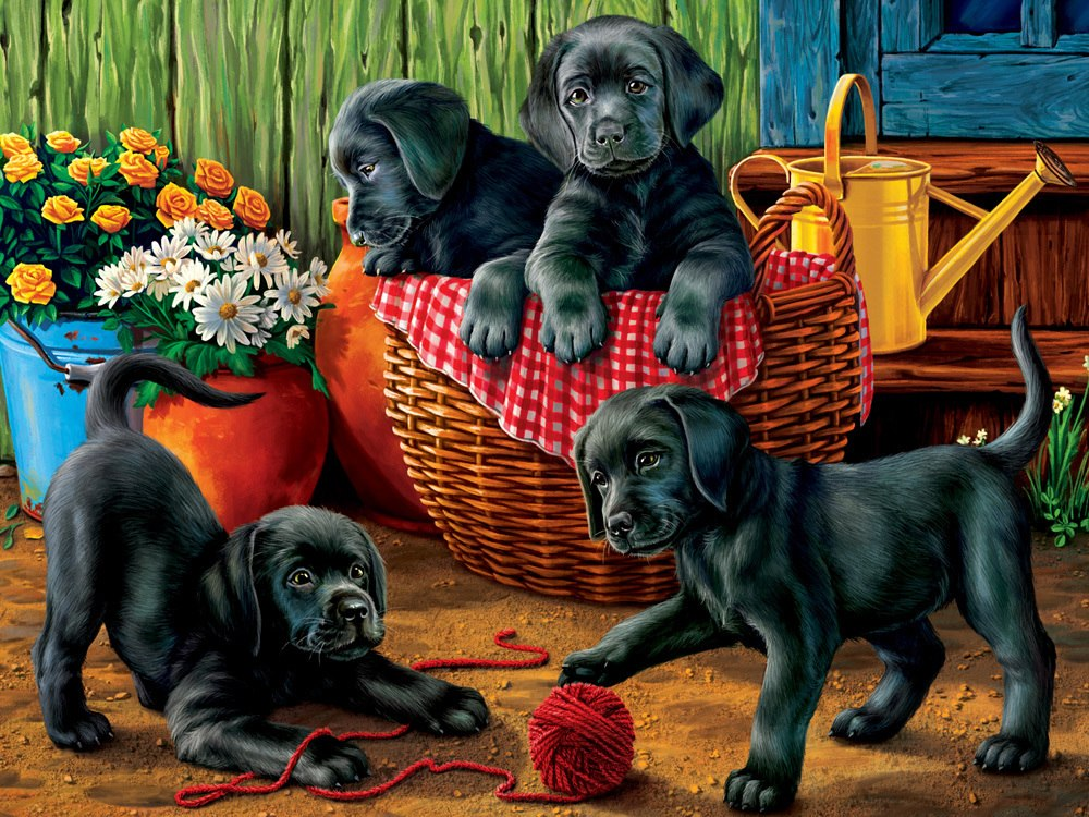 Puppy Fun - 550pc Jigsaw Puzzle by Vermont Christmas Company  			  					NEW