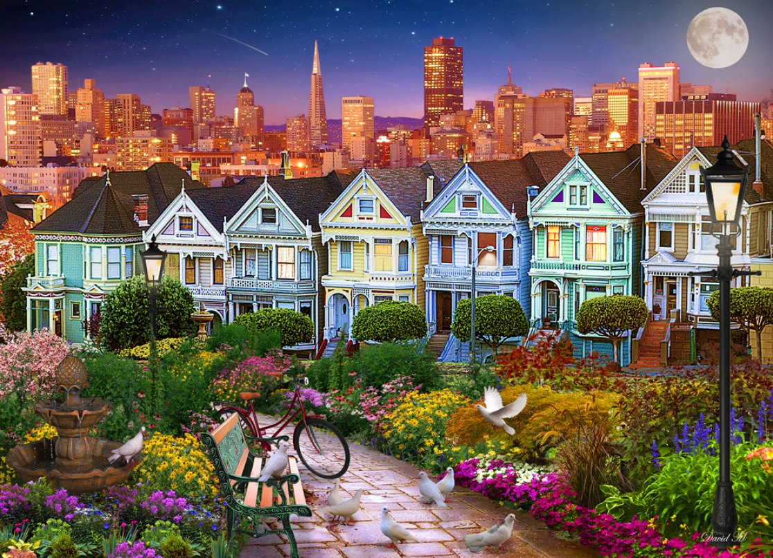 Painted Ladies of San Francisco - 1000pc Jigsaw Puzzle by Vermont Christmas Company  			  					NEW