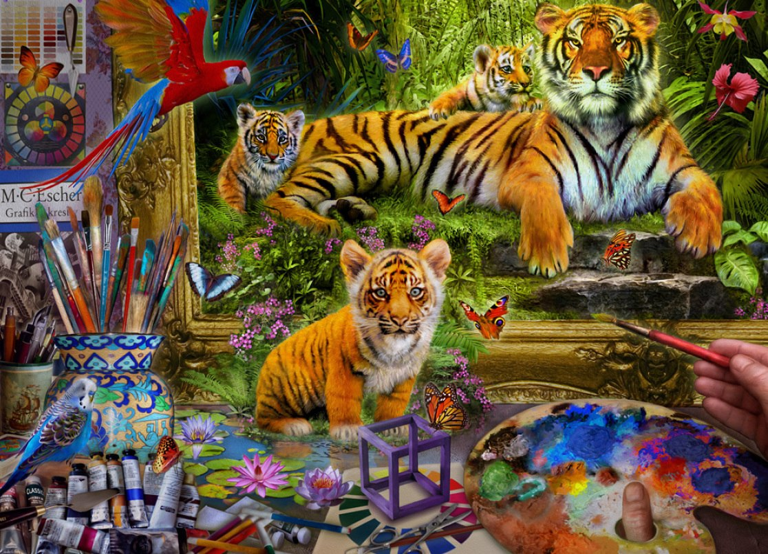 Tiger Painting - 1000pc Jigsaw Puzzle by Vermont Christmas Company  			  					NEW