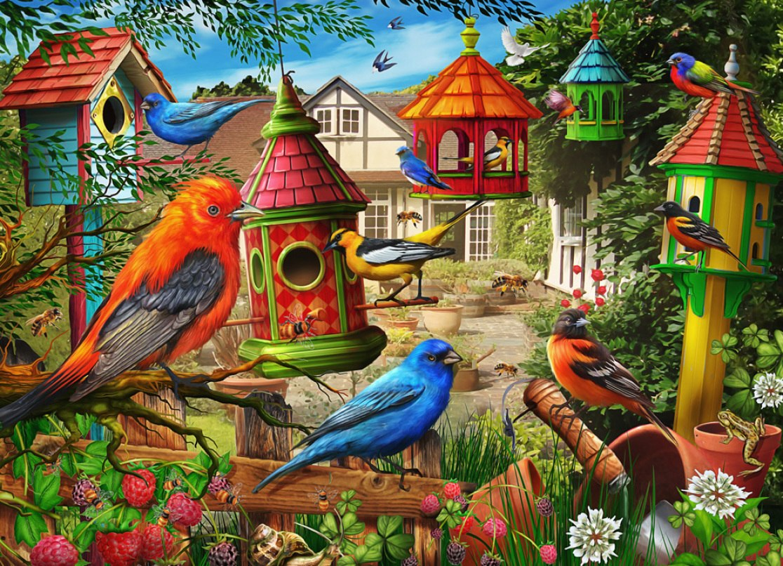 Birdhouse Garden - 1000pc Jigsaw Puzzle by Vermont Christmas Company  			  					NEW
