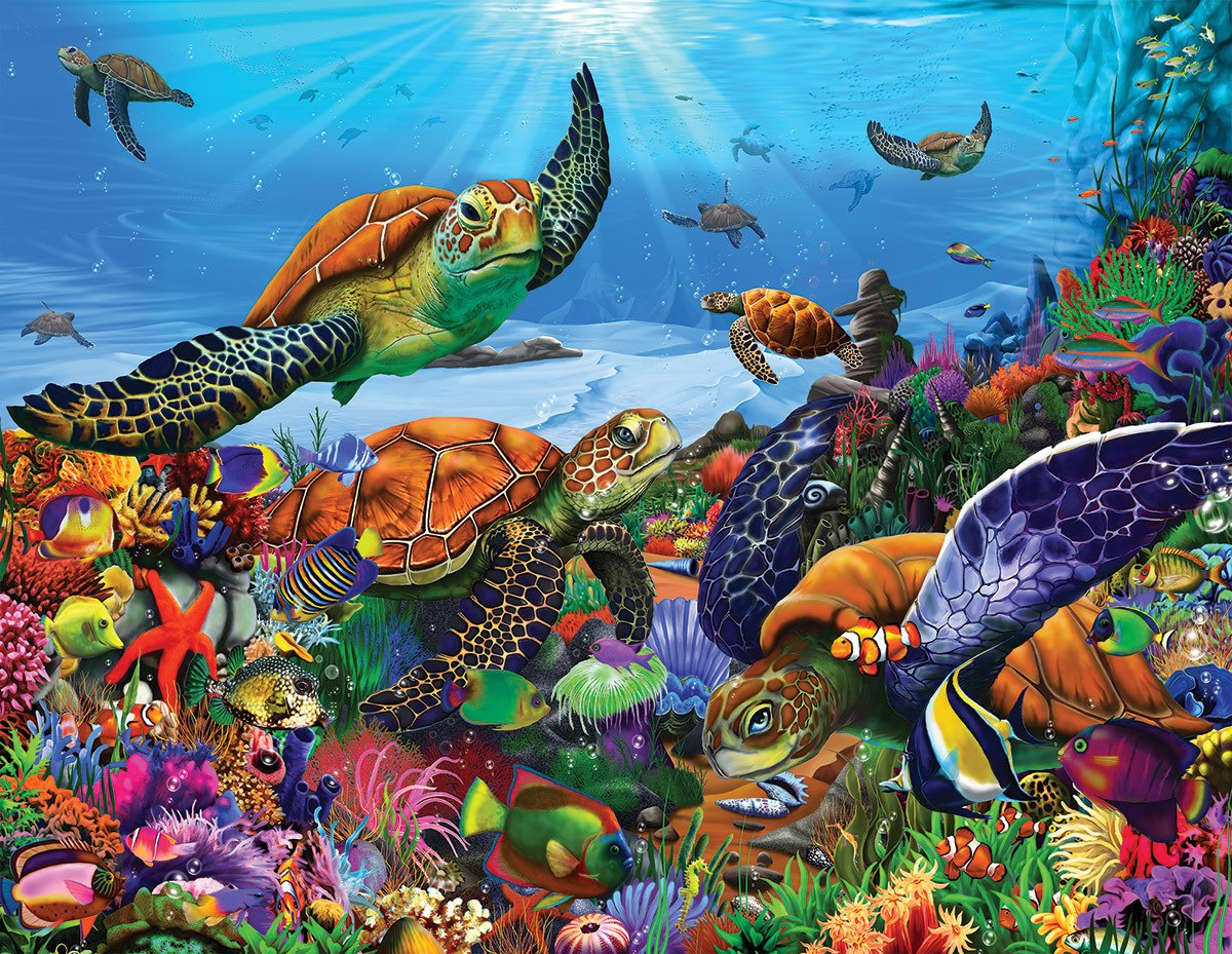 Amazing Sea Turtles - 300pc Jigsaw Puzzle by White Mountain  			  					NEW