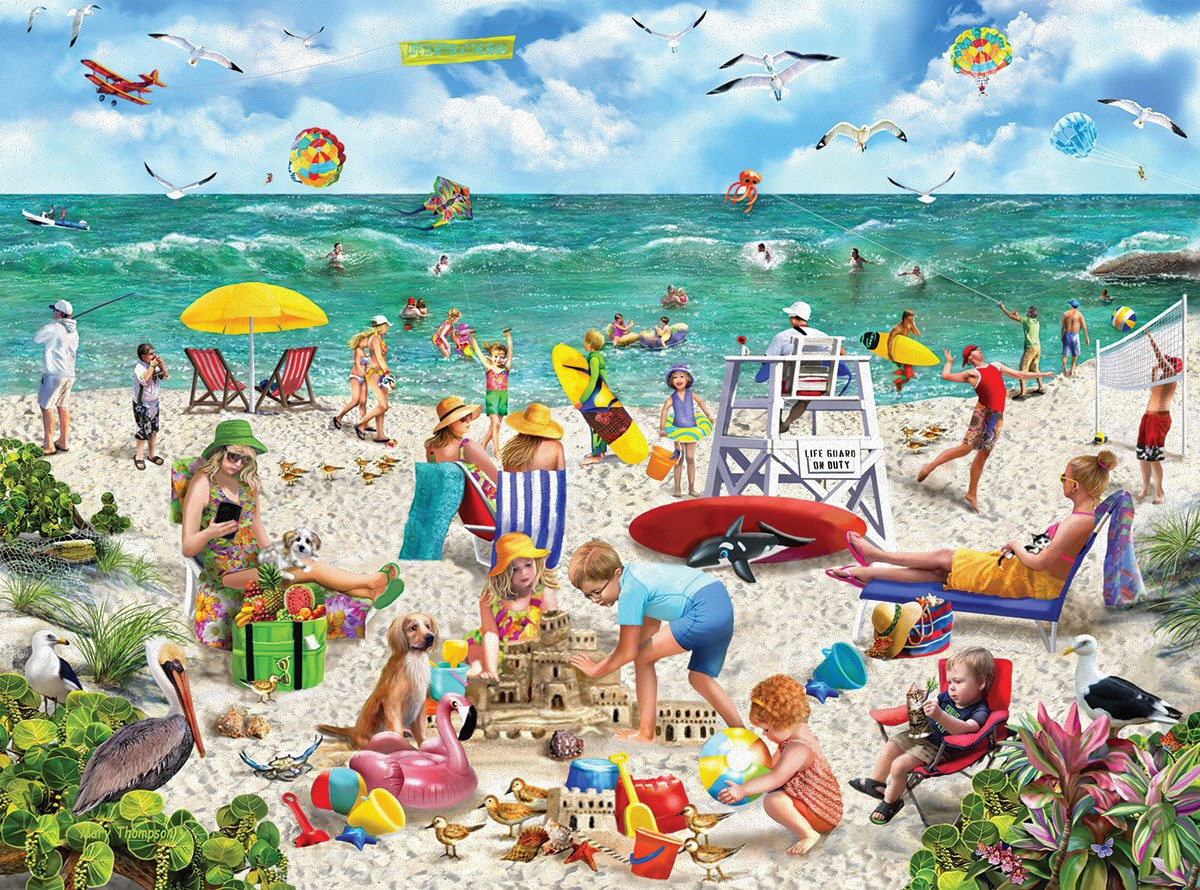 Beach Day - 1000pc Jigsaw Puzzle by White Mountain  			  					NEW