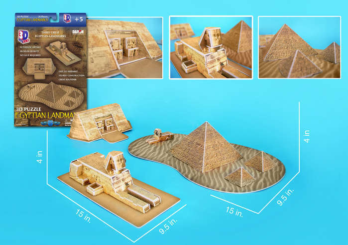 3 Egyptian Landmarks - 38pc 3D Jigsaw Puzzle by Daron - image main