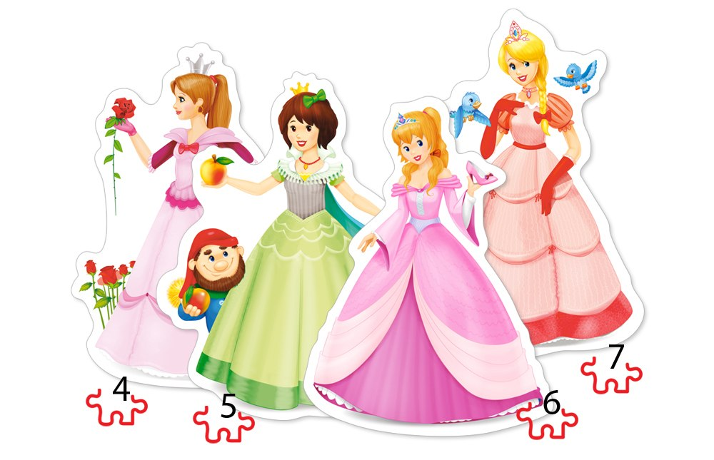 Pretty Princesses - 4,5,6,7pc Jigsaw Puzzle By Castorland