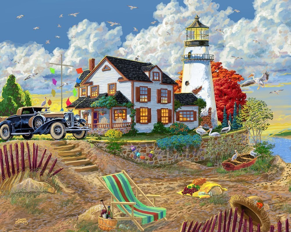 Lighthouse Visitors - 1000pc Jigsaw Puzzle by Vermont Christmas Company  			  					NEW