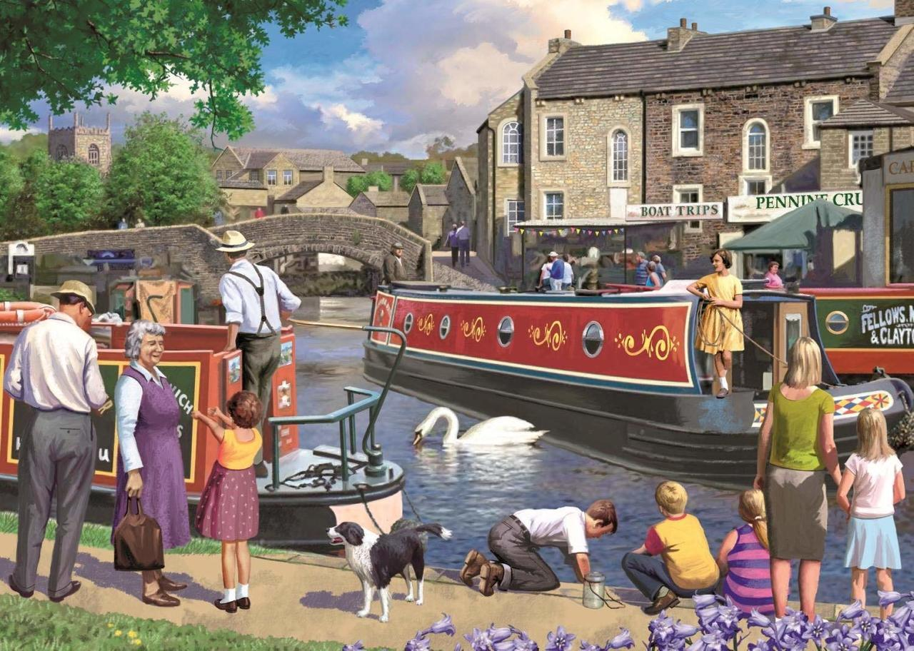 Sunday on the Canal - 1000pc Jigsaw Puzzle By Falcon  			  					NEW
