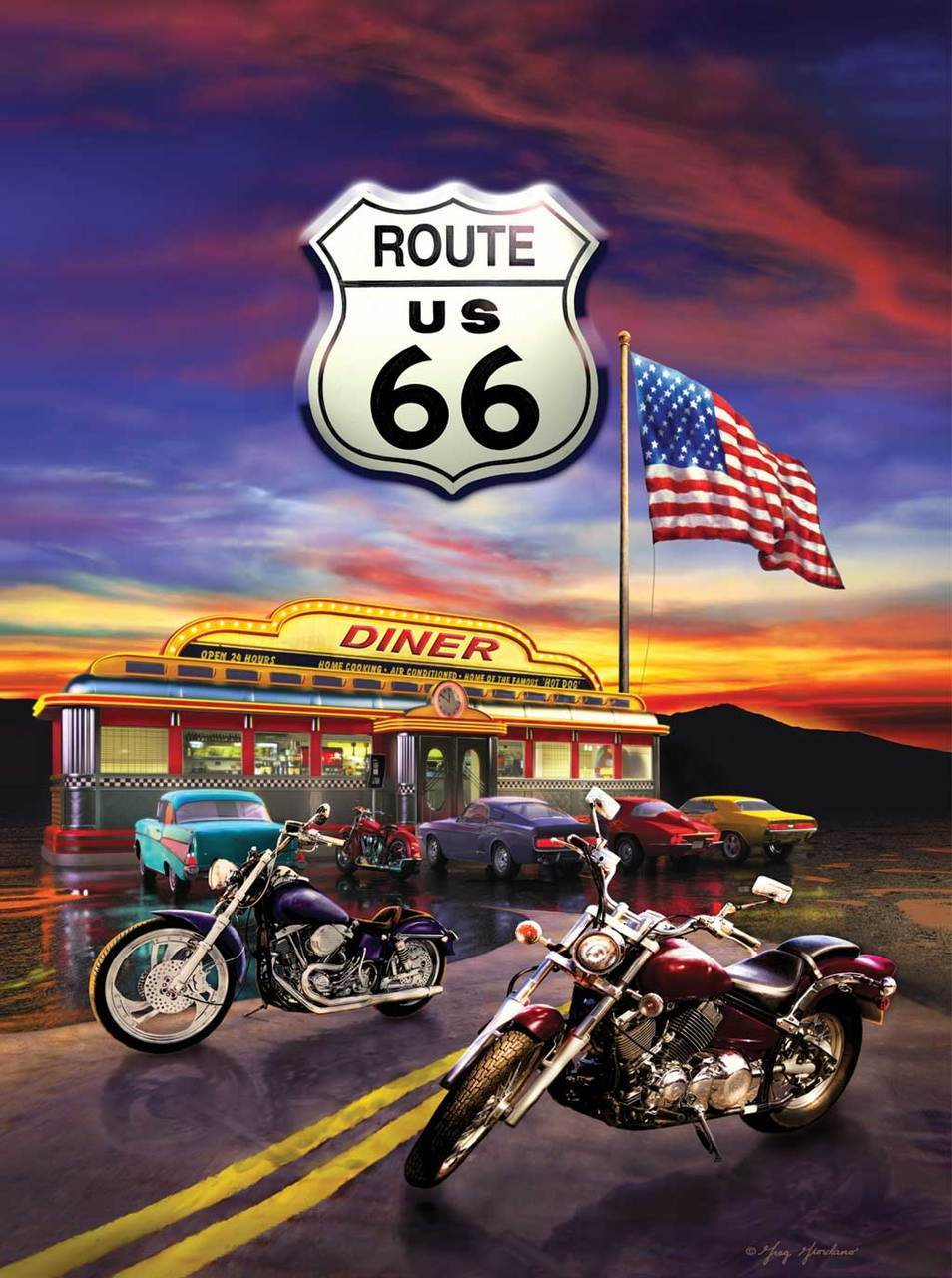 Route 66 Diner - 1000pc Jigsaw Puzzle By Sunsout