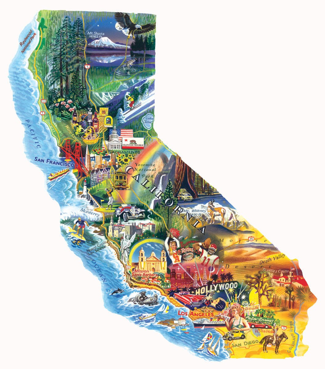 Sun and Fun- California - 1000pc Shaped Jigsaw Puzzle by Sunsout