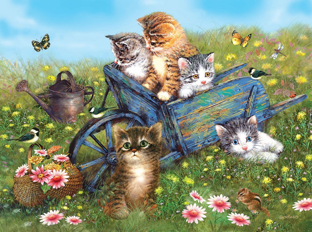 Kittens on a Field Trip - 1000pc Jigsaw Puzzle by Sunsout