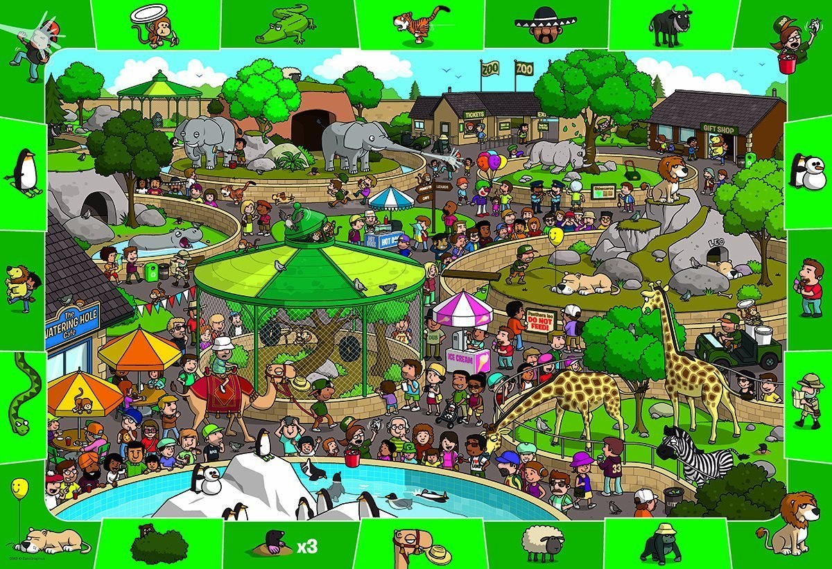 A Day in the Zoo - 100pc Jigsaw Puzzle by Eurographics  			  					NEW - image main