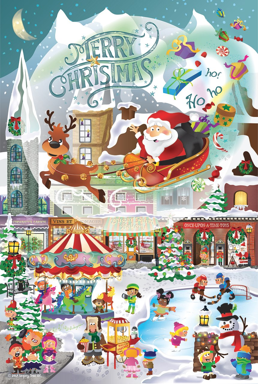 A Christmas Village for All Ages - 625pc Family Jigsaw Puzzle by Sunsout  			  					NEW