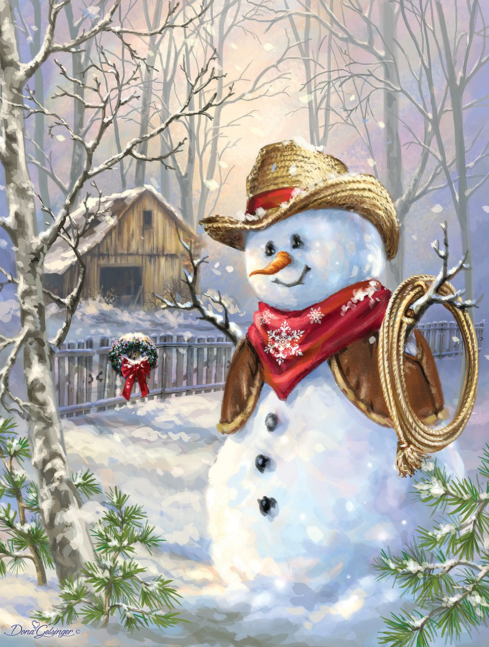 Snow Cowboy - 300pc Large Format Jigsaw Puzzle by SunsOut